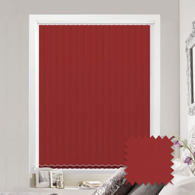 Made to measure vertical blinds in Splash Ruby Red plain fabric - Just Blinds